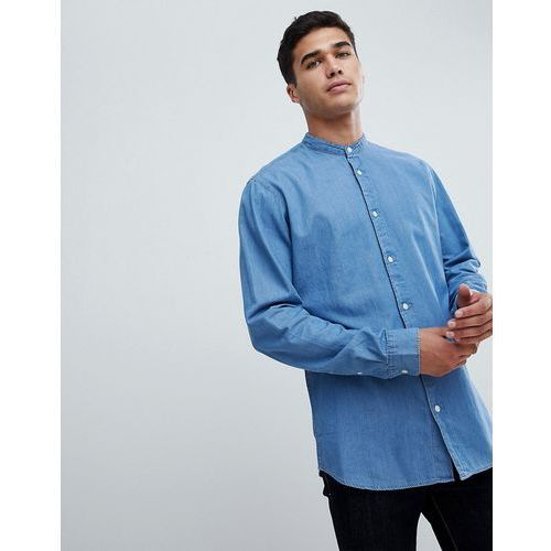 chambray shirt with mandarin collar in slim fit - blue, Selected homme, XS-XL
