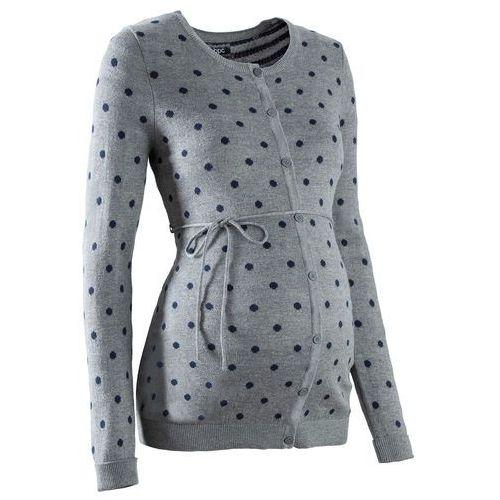 Sweter ciążowy rozpinany w kropki  szary melanż - ciemnoniebieski w kropki, Bonprix, 32-54