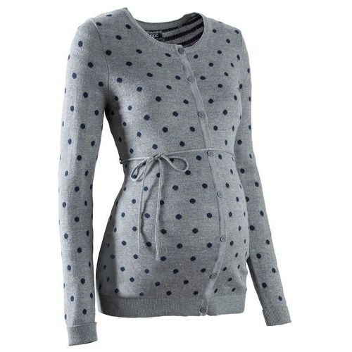 Sweter ciążowy rozpinany w kropki szary melanż - ciemnoniebieski w kropki marki Bonprix