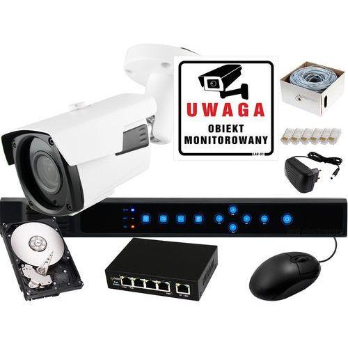 Zestaw do monitoringu IP: Rejestrator sieciowy 4 kanałowy BCS-P-NVR0401, 1 x Kamera LV-AMB3M6IPWH, Dysk 1TB, Akcesoria, ZM7151