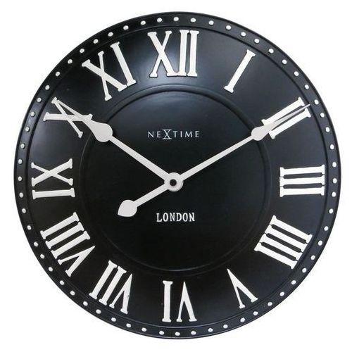Nextime - zegar ścienny london roman - czarny