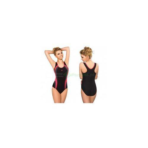 POWER I klasyczny strój kąpielowy pływacki czarny/róż gWINNER + Czepek   WYSYŁKA 24h z kategorii Czepki