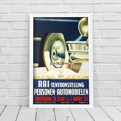 Plakat vintage do salonu plakat vintage do salonu pokaz samochodów w amsterdamie marki Vintageposteria.pl
