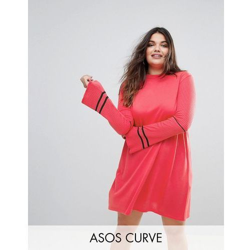 knitted dress with fluted sleeves and sports tipping - pink marki Asos curve