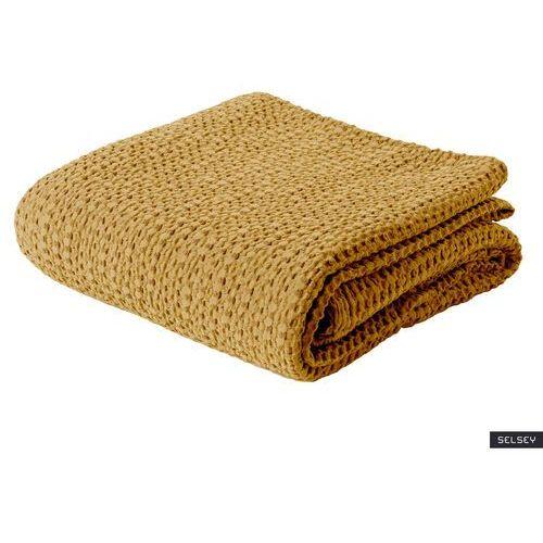 narzuta na łóżko alpinia bawełniana musztardowa marki Selsey