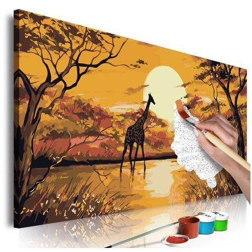 Obraz do samodzielnego malowania - żyrafa o zachodzie słońca marki Artgeist