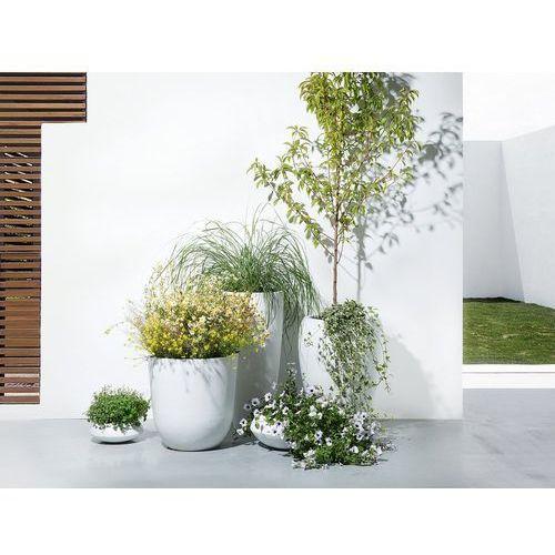 Beliani Doniczka biała - ogrodowa - balkonowa - ozdobna - 23x23x13 cm - iseo (4260580922901)