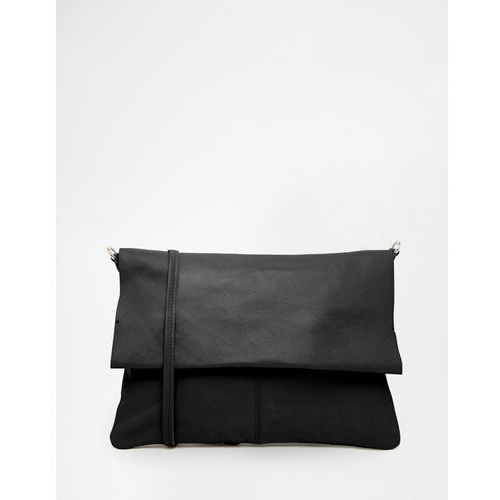 Asos leather unlined soft cross body bag with detachable strap - black