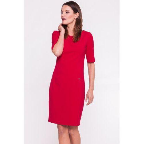 Czerwona sukienka biurowa - Carmell, 1 rozmiar
