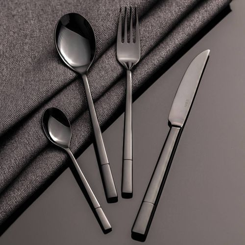 Dekoria Sztućce Luxus Black komplet dla 6 osób 24 części, 44 × 33 × 5,5 cm