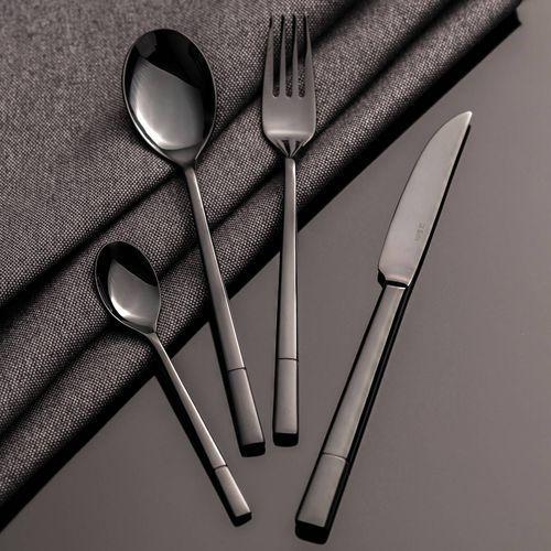 sztućce luxus black komplet dla 6 osób 24 części, 44 × 33 × 5,5 cm marki Dekoria