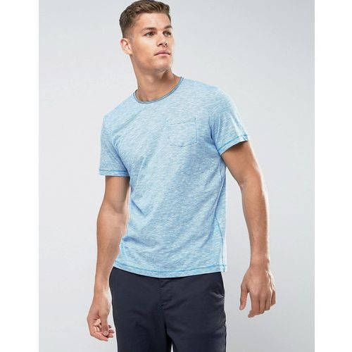 Tom Tailor T-Shirt With Fine Stripe Raw Hem And Pocket - Blue, kolor niebieski