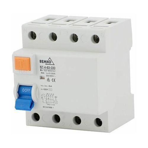 Wyłącznik różnicowoprądowy N7 63A 300mA AC 4P Bemko