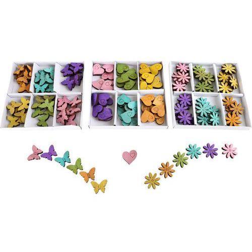 Kolorowe wiosenne elementy dekoracyjne - motylki, serduszka, kwiatki