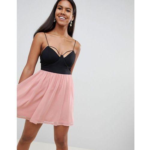 8ca7e90c86 Rare London strappy bustier contrast prom dress - Black