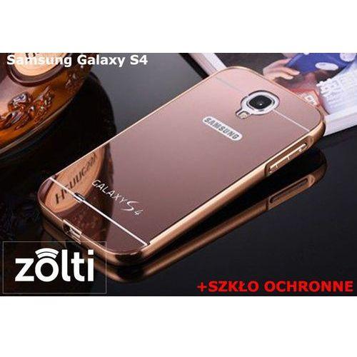 Zestaw | Mirror Bumper Metal Case Różowy + Szkło ochronne Perfect Glass | Etui dla Samsung Galaxy S4