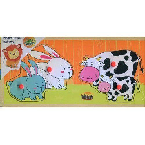 Playme Drewniana układanka z pinezkami króliki i krowy - brimarex