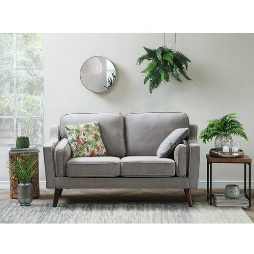 Sofa dwuosobowa tapicerowana jasnoszara LOKKA