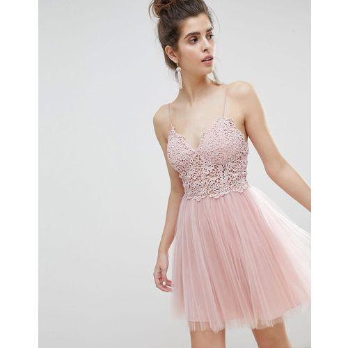 Asos design premium lace cami top tulle mini dress - pink
