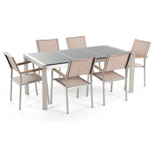 Meble ogrodowe - stół granitowy 180 cm szary polerowany z 6 beżowymi krzesłami - grosseto marki Beliani
