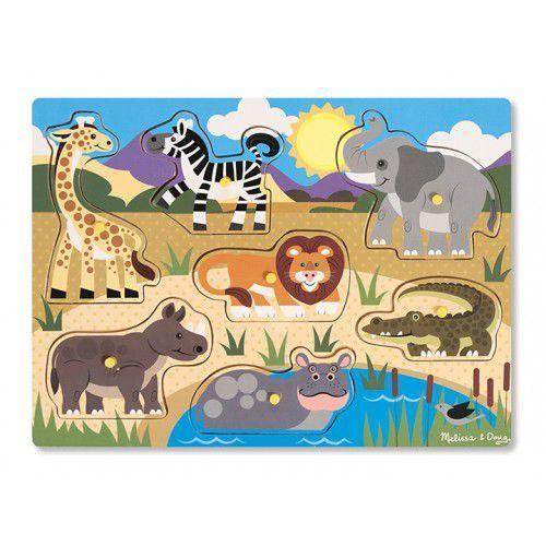 Melissa & doug Drewniana układanka z uchwytami - wzór safari
