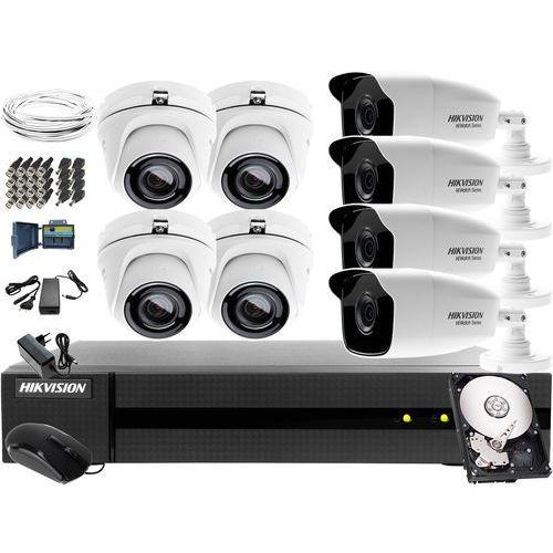 System monitoringu szkoły, przedszkola Hikvision Hiwatch HWD-6108MH-G2, 4 x HWT-B220-M, 4 x HWT-T120-M, 1TB, Akcesoria, ZM11143