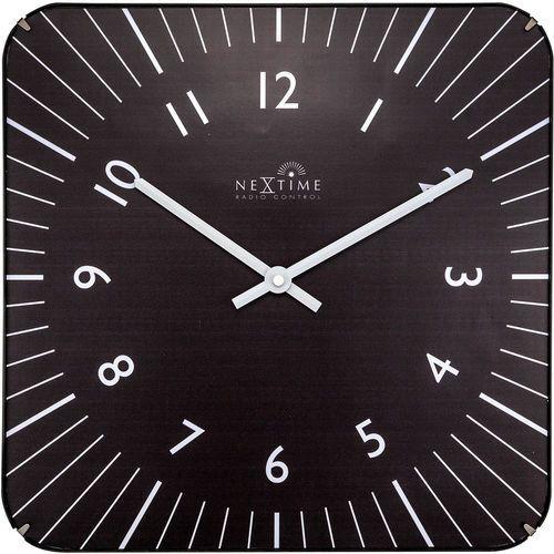 Nextime Kwadratowy zegar na ścianę alex radio control 35 x 35 cm, czarny (3240 zw)