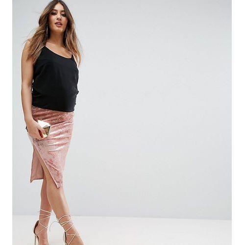 over the bump velvet midi skirt with thigh split - pink marki Asos maternity