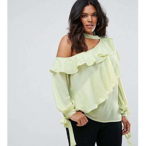 ruffle blouse with exposed shoulder & neck band - green marki Asos curve