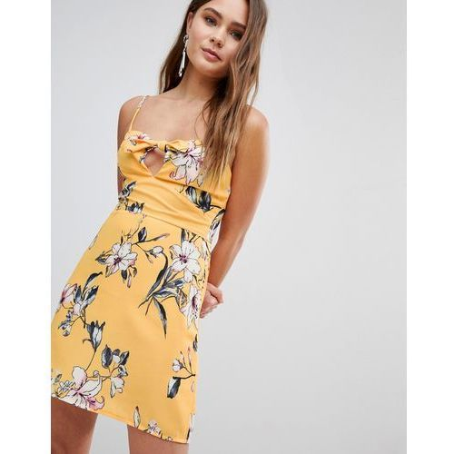 Parisian Floral Cami Dress With Bow - Yellow, kolor żółty