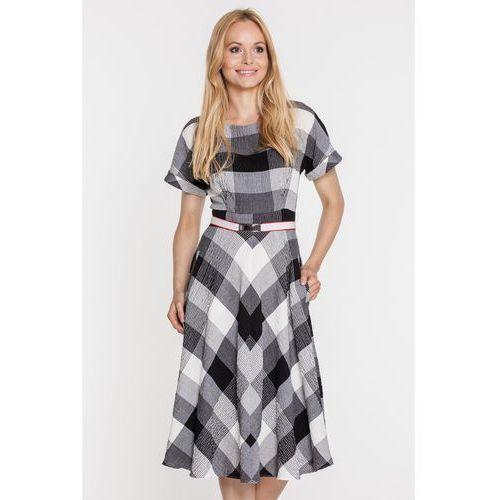 Rozkloszowana sukienka w kratę z nowoczesnym paskiem - marki Gapa fashion