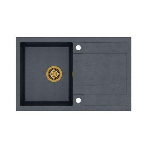 Zlew granitowy ze złotym syfonem Quadron Morgan 111 - Czarny