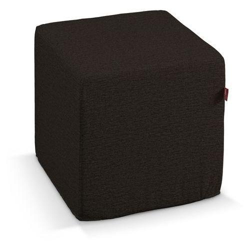 pokrowiec na pufę kostke, czarny z brązowymi nitkami, kostka 40 × 40 × 40 cm, madrid marki Dekoria