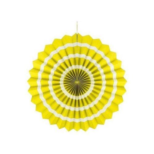 Dekoracja wisząca rozetka żółto - biała - 40 cm - 1 szt. marki Go