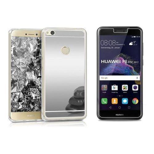 Zestaw   Slim Mirror Case Srebrny   Etui + Szkło ochronne Perfect Glass dla modelu Huawei P8 Lite 2017 / P9 Lite 2017
