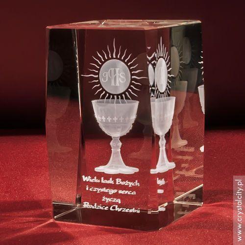 Pamiątka Komunii »hostia i kielich« średnia • statuetka 3D personalizowana - OKAZJE