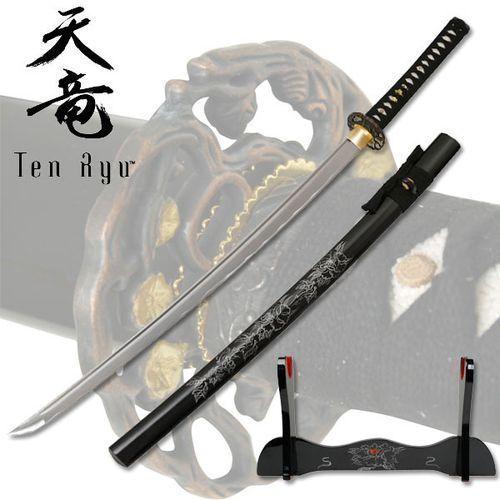 Płatnerze hiszpańscy Wspaniały miecz samurajski, katana ręcznie kuta ze stojakiem chryzantema (tr-009)
