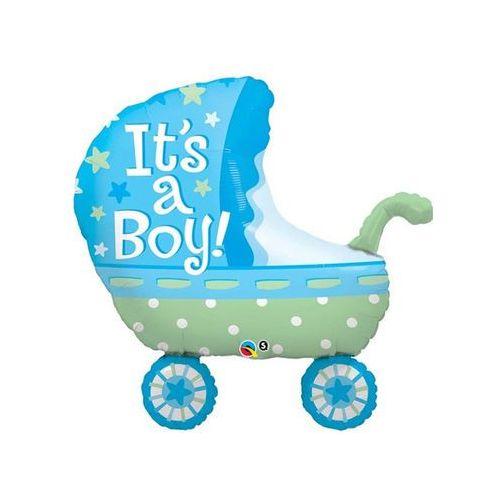 Go Balon foliowy wózek niebieski - 89 cm - 1 szt.