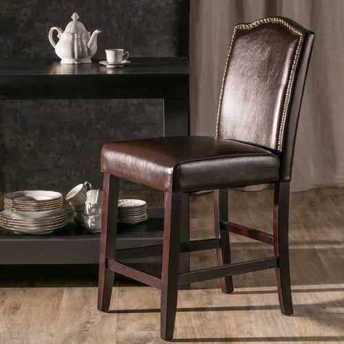 Dekoria krzesło barowe bailey brown leather wys. 100cm -50%, 48 × 51 × 100 cm