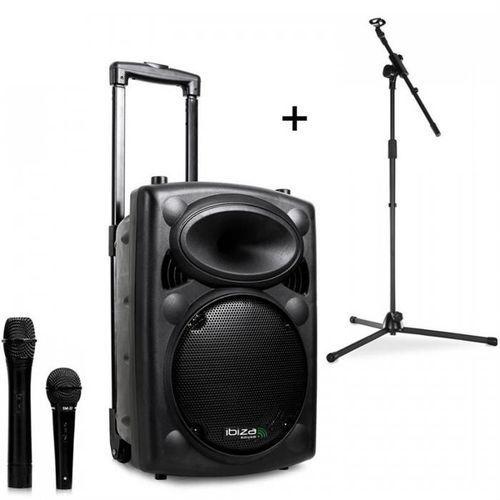 Ibiza port8vhf-bt, przenośna kolumna nagłośnieniowa, bluetooth, usb, sd, 200 w rms, ze stojakiem mikrofonowym (4260440466552)