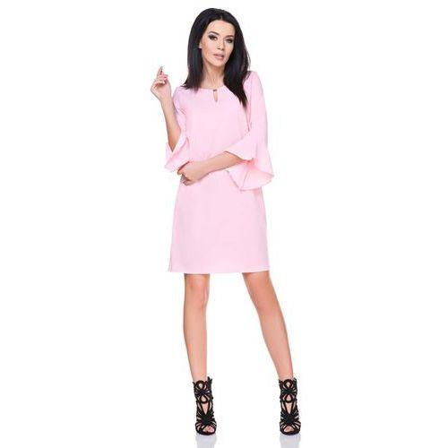 Różowa sukienka z rozkloszowanymi rękawami 3/4 marki Tessita
