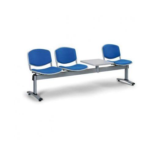 Ławka do poczekalni livorno, tapicerowana 3 siedzenia + stołek, niebieski marki Euroseat