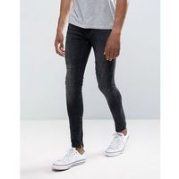 New Look Skinny Jeans With Rips And Zip Hem In Washed Black - Black, kolor czarny