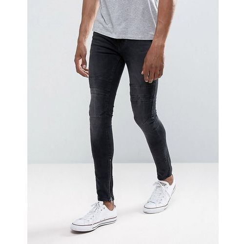New look  skinny jeans with rips and zip hem in washed black - black