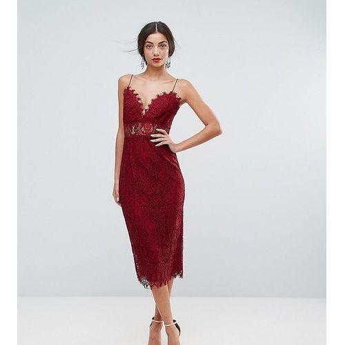 ASOS TALL Lace Cami Midi Pencil Dress - Red