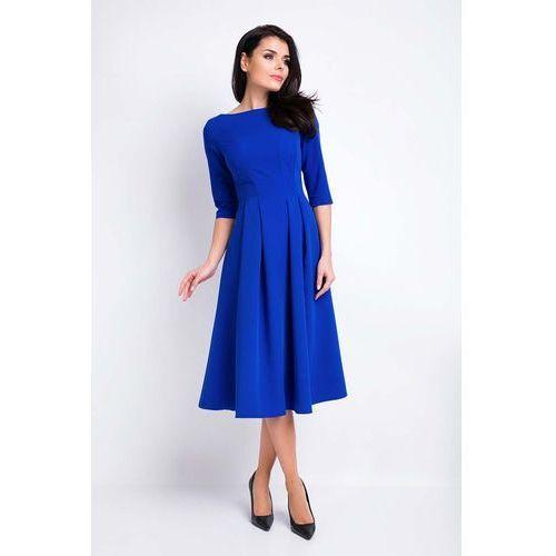 Niebieska sukienka wizytowa midi z szerokim dołem marki Awama