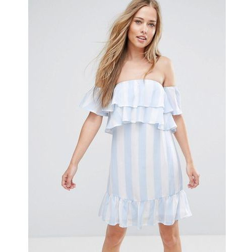Parisian off shoulder stripe dress - blue