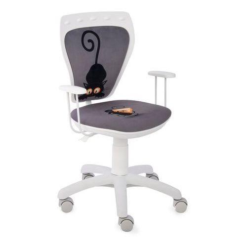 Obrotowe krzesło dziecięce MINISTYLE WHITE - Kot i mysz - Szkolna Promocja!