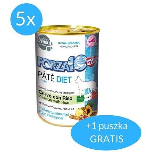 Forza10 Diet dla psa 5x400g + 400g GRATIS (2,4kg): smak - jeleń i ryż DOSTAWA 24h GRATIS od 99zł