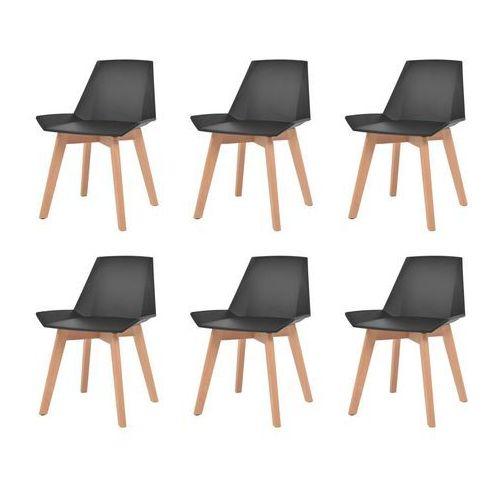 vidaXL Komplet 6 krzeseł, nogi z drewna i czarne, plastikowe siedziska, kolor czarny